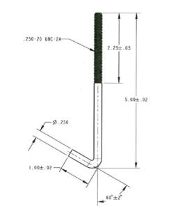 Custom 316 SS Bent Anchor Rods - Per AMS 5648